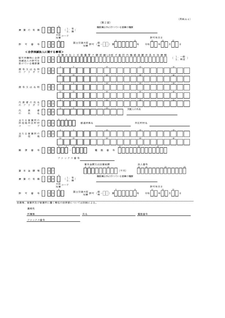 合併認可申請書(様式第二十二号の七(第2面))新設様式